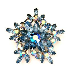 Large Blue Rhinestone Brooch, Snowflake, Star, Aurora Borealis, Silver... ($48) ❤ liked on Polyvore featuring jewelry, brooches, star jewelry, snowflake jewelry, blue rhinestone brooch, rhinestone brooches and snowflake brooch