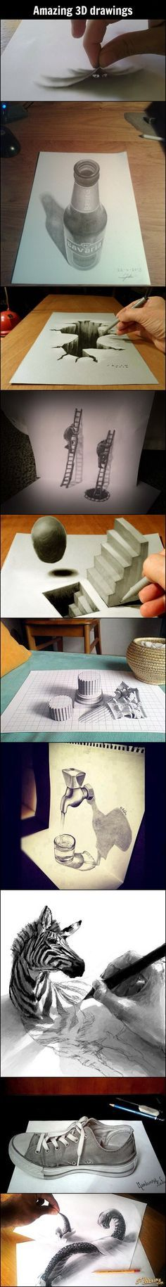 These amazing 3D Drawings really jumped out to me! I thought that they were great and how effective use of lines can give a drawing a life.