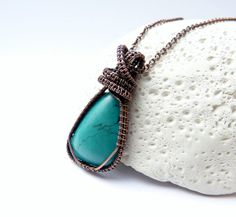 Turquoise pendant, antique copper wire wrapped necklace, turquoise gemstone, handmade jewelry