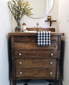 Farmhouse style wooden dresser bathroom vanity perfect for a farmhouse bathroom. Farmhouse style wooden dresser bathroom vanity perfect for a farmhouse bathroom. Bad Inspiration, Bathroom Inspiration, Bathroom Ideas, Antique Bathroom Decor, Bathroom Colors, Bath Ideas, Earthy Bathroom, Bathroom Green, Victorian Bathroom
