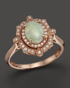 Opal and Diamond Antique Inspired Ring in 14K Rose Gold | Bloomingdales's