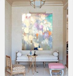 "48""x60"" Large Canvas Art, Amanda Faubus Gold Leaf Original Painting, Abstract, pink, creme, white, grey, blue, Canvas Art, Urban, Loft, Boho"
