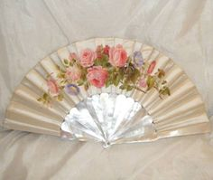 c1870s mother of pearl and satin leaf fan