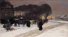 Willem de Zwart (1862-1931)  Cabmen waiting at The Hague station (1890)  Oil on canvas (55 x 101 cm)