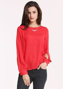 Red Round Neck Split Sleeve Loose Blouse US$14.33