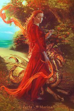 summer dragon - Digital Art by Perla Marina  <3 <3 Dragon Lady, Female Dragon, Pet Dragon, Baby Dragon, Boris Vallejo, Fantasy Dragon, Fantasy Art, Fantasy Paintings, Elfen
