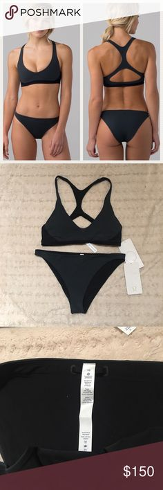 RARE Lululemon Uncharted Water Two Piece Bikini Very rare brand new with tags uncharted waters two piece set! Bit are size 10 and matching dark gray and black colors. Racerback top with removable cups and cheeky bikini bottoms. Will only sell together! lululemon athletica Swim Bikinis