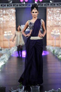 Belted saree gown