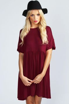 Ruby Oversized Smock Dress at boohoo.com