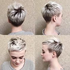 Short Pixie Haircuts for Pretty Look. Pixie hairstyles are the most popular options women try.Pixie hair is suitable for both young and old ladies. Choppy Pixie Cut, Edgy Pixie Cuts, Best Pixie Cuts, Short Pixie Haircuts, Pixie Hairstyles, Short Hair Cuts, Edgy Pixie Hair, Short Hair Shaved Sides, Pixie Cut Color