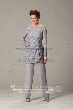 2015 New Arrival Gray Long Sleeves mother of the bride pants suit nmo-108