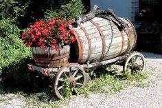 Old Wood Wagon  Barrels