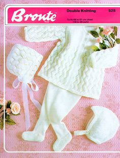 PDF Vintage Baby Knitting Pattern Lacy Pram Set Leggings