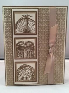 handmade card ... monochromatic kraft .. like the off-the-edge stamping of the three main images ... excellent design ... Stampin Up!