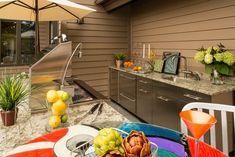 Stainless Steel Cabinets, Granite Counters Outdoor Kitchen Lake Street Design Studio Petoskey, MI