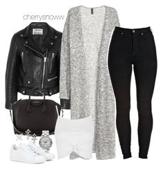 """""""Edgy casual chic monochrome spring outfit"""" by cherrysnoww ❤ liked on Polyvore featuring Acne Studios, Kofta, Givenchy, Marc by Marc Jacobs, adidas, Topshop and DANNIJO"""
