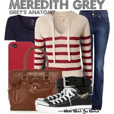 Grey's Anatomy by wearwhatyouwatch on Polyvore featuring Denim & Supply by Ralph Lauren, MANGO, 7 For All Mankind, Converse, Warehouse, Cole Haan, stripes, top handle bags, iphone and hoodies