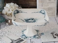 RARE - Antique French Terre de Fer (Ironstone) Compote - Blue birds and scrolls - circa 1880s by H.B. & Cie via Etsy