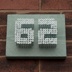 House Number Sign - Name Plaque - Contemporary - Urban - Wood Metal Screw - Reclaimed Recycled Timber