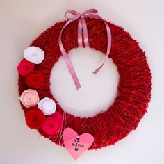 Celebrate With a Yarn-Wrapped Wreath For Valentine's Day Diy Valentines Day Wreath, Fun Valentines Day Ideas, Valentine Activities, Valentine Day Love, Valentine Decorations, Valentine Day Cards, Valentine Crafts, Valentine's Day Diy, Holiday Fun