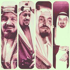 The founding father King Abdulaziz Al Saud first, and his sons: King Saud Bin Abdulaziz Al Saud, King Faisal Bin Abdulaziz Al Saud, and King Khalid Bin Abdulaziz Al Saud. May they all rest in peace.    #ksa