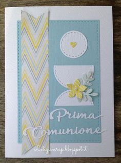 Letiziascrap: Card Comunione maschile First Communion Cards, Paper Art, Paper Crafts, Printable Cards, Kids Cards, Scrapbook Cards, Christening, I Card, Cardmaking