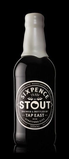 Sixpence Stout Bottle - Oh Beautiful Beer Craft Beer Brands, Craft Beer Labels, Wine Labels, Beverage Packaging, Bottle Packaging, Sleeve Packaging, Coffee Packaging, Food Packaging, Craft Bier