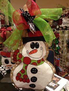 Snowman burlap hanger