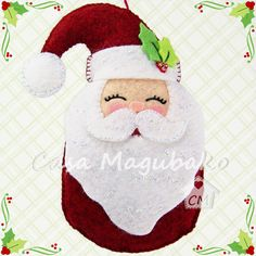 Santa Claus Ornament Tutorial Felt Christmas door CasaMagubako