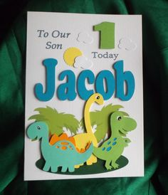 Personalised 1st 2nd Any Age Dinosaurs by LittlePinkMooseCards