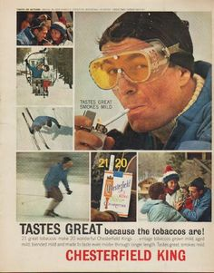 "Description: 1963 CHESTERFIELD CIGARETTES vintage magazine advertisement ""Tastes Great"" -- Taste of Action ... skiing in new powder, Stratton Mountain, Vermont. Great Day! Great Smoke! ... Tastes Great because the tobaccos are! ... Chesterfield Kings ... vintage tobaccos grown mild, aged mild, blended mild and made to taste even milder through longer length. -- Size: The dimensions of the full-page advertisement are approximately 10.5 inches x 13.25 inches (26.75 cm x 33.75 cm). Condition…"