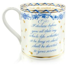 Official mug, to commemorate the Queen's 90th birthday, 21st April 2016. Part of the declaration spoken at her coronation is printed on the side.