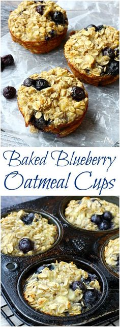 Sweetened only with the natural sugars in the bananas, these Baked Blueberry Oatmeal Cups are a healthy way to start your day.: