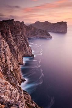 Beautiful evening light falling on the cliffs near Cap de Formentor in Northern Mallorca, Spain