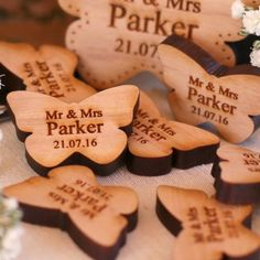 Wooden Wedding Table Decorations Butterfly Favours Cherry - NiVi Design - 1