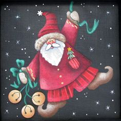 Santa Claus with Jingle Bells Whimsical by barbsheartstrokes