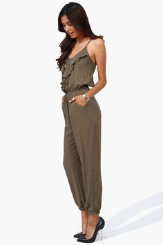 Ruffle Jumpsuit in Olive