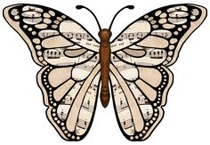 FREE Printable ClipArt - MUSIC BUTTERFLIES (For Spring Recital Program)