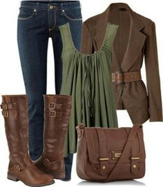 Brown and jeans styles. (it kinda looks like Katniss Everdeen's hunting clothes)