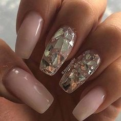 Pink and gold manicure. Shattered glass nail art.