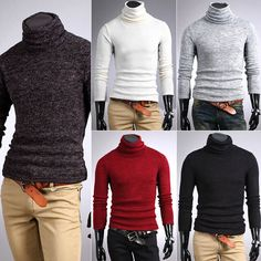 Mens Thermal Cotton Turtle Polo Neck Skivvy Turtleneck Sweater Stretch Shirts #OWNBRAND #Turtleneck