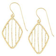 Fremada 14k Gold Diamond-cut Diamond Shape Dangle Earrings