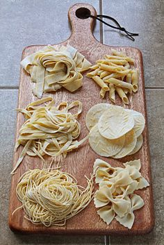 Fresh Egg Pasta Recipe - Clockwise from top right: garganelli, corzetti, farfalle, spagetti, linguine, pappardelle.