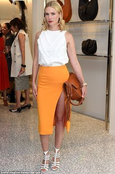 Bright: January Jones was looking fresh as a daisy at the Joseph Altuzarra luncheon hosted by Barneys New York in Beverly Hills on September 24, 2015