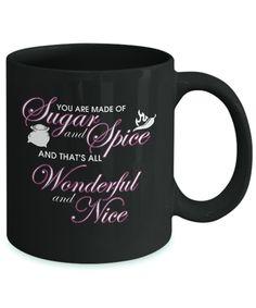 Sugar and Spice Black Coffee Mug. #love #fashion#beauty #time #style #fact #travel #happiness #lifestyle #sugar # passion #mug #coffee #coffeemug