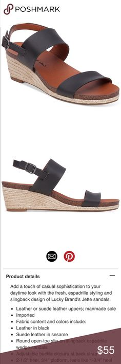 Lucky Brand Jett's Wedge Slingback Sandals New in box. Never even removed from box. Any questions, please ask. Photos are stock, shoe is the exact as shown in photo. Thanks for looking!! Lucky Brand Shoes Wedges