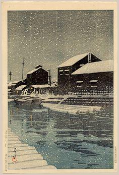 """""""Snowstorm at Kiba"""" by Hasui, Kawase"""