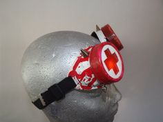 Red & White Modified hand painted welding goggles by OtterKraft
