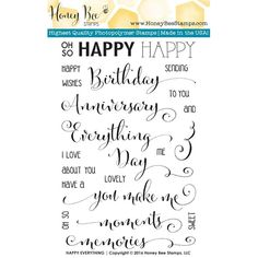 Honey Bee HAPPY EVERYTHING Clear Stamp Set HBST20