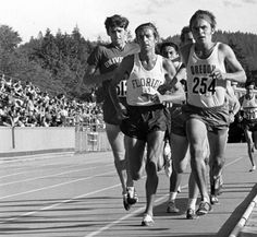 Steve Prefontaine, 254, June 25, 1971 AAU Championships, Hayward Field, Eugene OR, 3 mile race, Pre's winning time was 12:58.6. In photo; Leonard Hilton far left, Frank Shorter, behind: Mario Perez and Steve Stageberg , Pre, hidden behind Pre and Stageberg is Gerry Lindgren (arm sowing), far behind wearing #570 is Terry Harrison.